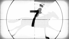 Αναδρομική εκλεκτής ποιότητας άσπρη αντίστροφη μέτρηση με τον κάουμποϋ ιππέων κινούμενων σχεδίων επάνω στο τρέξιμο νέας ποιότητας ελεύθερη απεικόνιση δικαιώματος