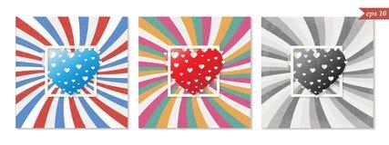 Αναδρομική ευχετήρια κάρτα βαλεντίνων του ST, ζωηρόχρωμες καρδιές, διάνυσμα Στοκ Εικόνα