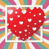 Αναδρομική ευχετήρια κάρτα βαλεντίνων του ST, κόκκινη καρδιά, διάνυσμα Στοκ Εικόνες