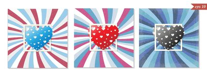 Αναδρομική ευχετήρια κάρτα βαλεντίνων του ST, μεγάλες καρδιές, διάνυσμα Στοκ Εικόνες