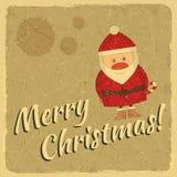 Αναδρομική κάρτα Χαρούμενα Χριστούγεννας με Άγιο Βασίλη διανυσματική απεικόνιση