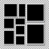 Αναδρομική κενή φωτογραφία με τη σκιά σε ένα διαφανές υπόβαθρο Στοκ Φωτογραφίες