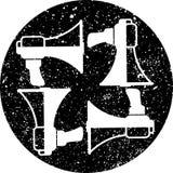 Αναδρομική, μουσική τριπλή έννοια ρολογιών clef, διάνυσμα Στοκ Εικόνες