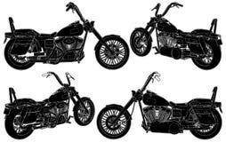 Αναδρομική παλαιά απομονωμένη μοτοσικλέτα απεικόνιση ύφους στο άσπρο διάνυσμα υποβάθρου διανυσματική απεικόνιση