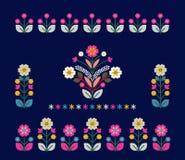Αναδρομική, παραδοσιακή floral διακόσμηση που εμπνέονται από Ουκρανό και POL Στοκ Εικόνα