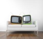 αναδρομική TV δύο καναπέδων διανυσματική απεικόνιση