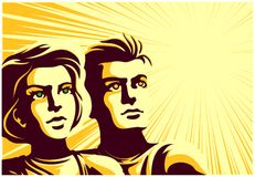 Αναδρομικοί σοβιετικοί άνδρας και γυναίκα ζευγών ύφους προπαγάνδας που εξετάζουν την απόσταση με την εμπνευσμένη διανυσματική απε ελεύθερη απεικόνιση δικαιώματος