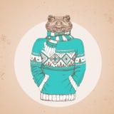 Αναδρομικός ζωικός βάτραχος μόδας Hipster που ντύνεται επάνω στο πουλόβερ διανυσματική απεικόνιση