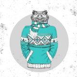 Αναδρομικός ζωικός βάτραχος μόδας Hipster που ντύνεται επάνω στο πουλόβερ ελεύθερη απεικόνιση δικαιώματος