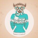 Αναδρομικός ζωικός κερκοπίθηκος μόδας Hipster που ντύνεται επάνω στο πουλόβερ διανυσματική απεικόνιση