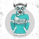 Αναδρομικός ζωικός κερκοπίθηκος μόδας Hipster που ντύνεται επάνω στο πουλόβερ ελεύθερη απεικόνιση δικαιώματος