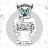 Αναδρομικός ζωικός κερκοπίθηκος μόδας Hipster που ντύνεται επάνω στο πουλόβερ απεικόνιση αποθεμάτων