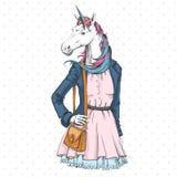 Αναδρομικός ζωικός μονόκερος φαντασίας μόδας Hipster Πρότυπο γυναικών ελεύθερη απεικόνιση δικαιώματος
