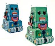 Αναδρομικός κασσίτερος δύο bots στοκ φωτογραφία με δικαίωμα ελεύθερης χρήσης