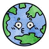 αναδρομικός πλανήτης Γη κινούμενων σχεδίων σύστασης grunge απεικόνιση αποθεμάτων