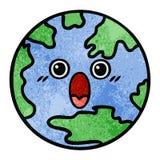 αναδρομικός πλανήτης Γη κινούμενων σχεδίων σύστασης grunge ελεύθερη απεικόνιση δικαιώματος