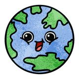 αναδρομικός πλανήτης Γη κινούμενων σχεδίων σύστασης grunge διανυσματική απεικόνιση