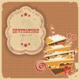 αναδρομικός τρύγος ετικετών καρτών κέικ γενεθλίων απεικόνιση αποθεμάτων