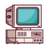 Αναδρομικός υπολογιστής από τη δεκαετία του '90 διανυσματική απεικόνιση