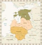 Αναδρομικός χάρτης χρώματος των κρατών της Βαλτικής διανυσματική απεικόνιση