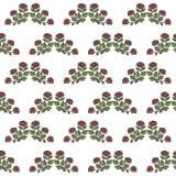 Αναδρομικό άνευ ραφής σχέδιο με τα απομονωμένα σχέδια των κόκκινων τριαντάφυλλων με το πράσινο διάνυσμα φύλλων σε ένα άσπρο υπόβα απεικόνιση αποθεμάτων