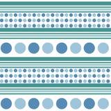 Αναδρομικό άνευ ραφής σχέδιο - μπλε κύκλοι, τυρκουάζ γραμμές aquamarine διανυσματική απεικόνιση