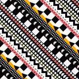 Αναδρομικό άνευ ραφής σχέδιο χρώματος Φανταχτερή αφηρημένη γεωμετρική τυπωμένη ύλη τέχνης Εθνικό σκηνικό γραμμών hipster διακοσμη Στοκ εικόνες με δικαίωμα ελεύθερης χρήσης