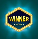 Αναδρομικό έμβλημα νικητών με το φως πυράκτωσης Ο νικητής παιχνιδιών χαρτοπαικτικών λεσχών τυχερός παρουσιάζει έμβλημα προτύπων σ διανυσματική απεικόνιση