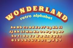 Αναδρομικό αλφάβητο ύφους χωρών των θαυμάτων Στοκ εικόνα με δικαίωμα ελεύθερης χρήσης