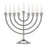 Αναδρομικό ασημένιο Hanukkah Menorah με το κάψιμο των κεριών τρισδιάστατη απόδοση
