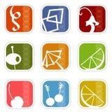 αναδρομικό διάνυσμα νεαρών δικυκλιστών 5 εικονιδίων διανυσματική απεικόνιση