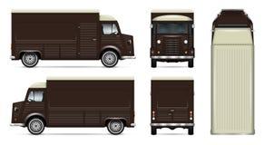 Αναδρομικό διανυσματικό πρότυπο φορτηγών τροφίμων Στοκ φωτογραφία με δικαίωμα ελεύθερης χρήσης