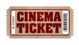 Αναδρομικό εισιτήριο κινηματογράφων με τον αριθμό και το γραμμωτό κώδικα διανυσματική απεικόνιση