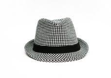 Αναδρομικό ελεγμένο καπέλο Fedora Στοκ εικόνα με δικαίωμα ελεύθερης χρήσης