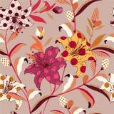 Αναδρομικό καθιερώνον τη μόδα διανυσματικό floral άνευ ραφής σχέδιο στο ζωηρόχρωμο λαϊκό ύφος τέχνης αφθονία-μέσα με το σημείο Πό διανυσματική απεικόνιση