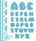 Αναδρομικό μπλε χρώμα τύπων χαρακτήρων λευκώματος αποκομμάτων απεικόνιση αποθεμάτων