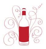 Αναδρομικό μπουκάλι κρασιού με τις καμπύλες Στοκ Εικόνες