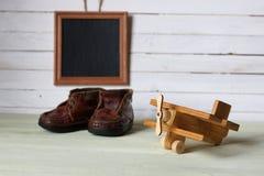 Αναδρομικό παιχνίδι στο ξύλινο κείμενο θέσεων πινάκων Στοκ εικόνες με δικαίωμα ελεύθερης χρήσης