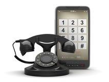Αναδρομικό περιστροφικό τηλέφωνο και τηλέφωνο κυττάρων Στοκ φωτογραφία με δικαίωμα ελεύθερης χρήσης
