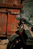 αναδρομικό σκουριασμένο μηχανικό δίκυκλο Στοκ Εικόνες