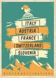 Αναδρομικό σχέδιο αφισών promo ταξιδιωτικού γραφείου με τους δημοφιλείς χειμερινούς προορισμούς ελεύθερη απεικόνιση δικαιώματος