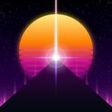 Αναδρομικό σχέδιο Synthwave, πυραμίδα, ακτίνα και ήλιος, απεικόνιση ελεύθερη απεικόνιση δικαιώματος