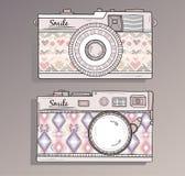 αναδρομικό σύνολο φωτογραφιών φωτογραφικών μηχανών διανυσματική απεικόνιση