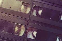 Αναδρομικό τηλεοπτικό υπόβαθρο κασετών, ταινίες VHS Στοκ Εικόνα