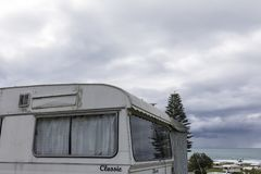Αναδρομικό τροχόσπιτο σε NZ στοκ φωτογραφίες