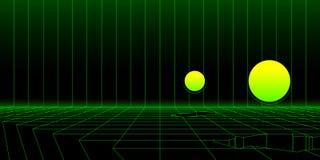 Αναδρομικό υπόβαθρο τοπίων του Sci Fi wireframe με τα τρισδιάστατα αντικείμενα Αφηρημένο διάνυσμα ελεύθερη απεικόνιση δικαιώματος