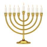 Αναδρομικό χρυσό Hanukkah Menorah με το κάψιμο των κεριών τρισδιάστατη απόδοση