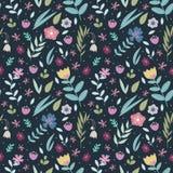 Αναδρομικό floral άνευ ραφής σχέδιο σχεδίου με πολλά διαφορετικά ζωηρόχρωμα τυποποιημένα λουλούδια και φύλλα στο σκοτεινό υπόβαθρ διανυσματική απεικόνιση