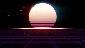 αναδρομικό Futurism της δεκαετίας του '80 υπόβαθρο Ανατολή ή ηλιοβασίλεμα στον ψηφιακό κόσμο διανυσματική απεικόνιση