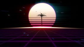 αναδρομικό Futurism της δεκαετίας του '80 υπόβαθρο Φοίνικας στο υπόβαθρο του ηλιοβασιλέματος ή της αυγής του ήλιου ελεύθερη απεικόνιση δικαιώματος